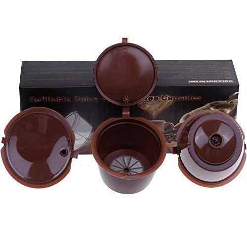 Letilio Filtros Cápsulas de Café puede rellenar reutilizar para Dolce Gusto Cafetera fuerte al menos 160 veces de usos para reemplazo (3 Marrón C)