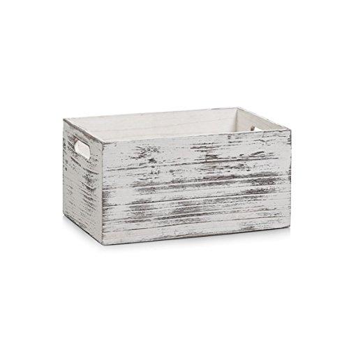 Zeller 15133 Cesto Contenitore Rustic Weiß, Legno, Bianco, 30x20x15 cm
