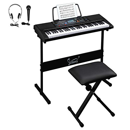 GLARRY 61-Key Portable Electronic Keyboard Piano set w/LCD Screen, Stand, Microphone, Headphones, Stand, Bench, Teaching Modes, Built-In Speakers