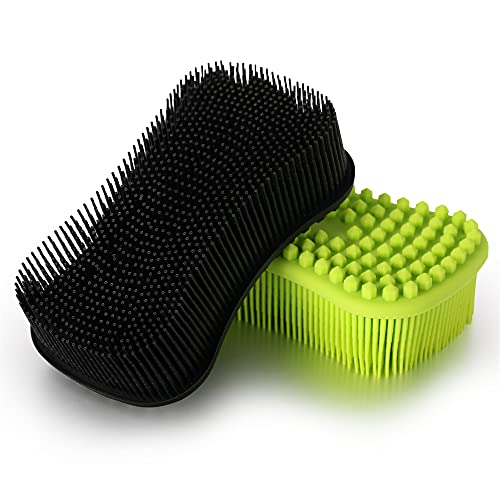 ELFRhino Silicone Body Scrubber, Gentle Exfoliating Cleaning Loofah, Soft Body Brush, SPA Massage Skin Care Tool, Scalp Massager for Women and Men, 2 Pack (Black+Green)