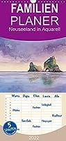 Neuseeland in Aquarell - Familienplaner hoch (Wandkalender 2022 , 21 cm x 45 cm, hoch): Handgemalte Aquarelle einer Reise durch Neuseeland (Monatskalender, 14 Seiten )