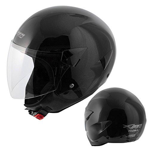 A-Pro Motorradhelm Motorrad Roller Jet Helm Demi Jet Scooter Schwarz M