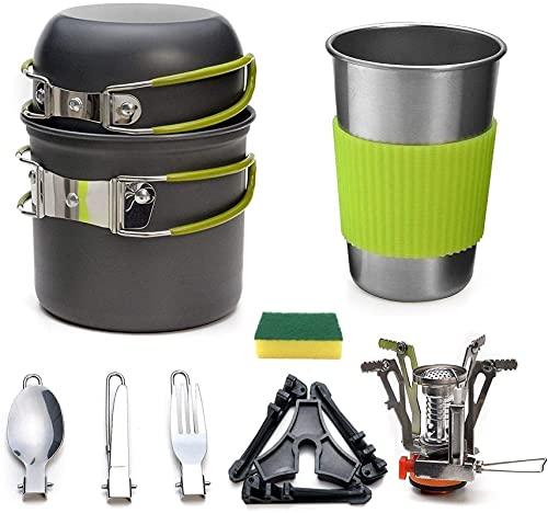 Juego de utensilios de cocina para acampar, olla de camping con estufa de picnic de excursionismo utensilio de utensilio de utensilios de cocina de utensilios de cocina. Electrodomésticos al aire libr