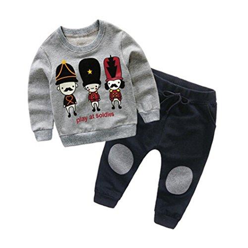 SMARTLADY 2-6 años Niño Niña Otoño/Invierno Ropa Conjuntos,Sudaderas + Pantalones,Personajes de Dibujos Animados Patrón (3 años, Gris)
