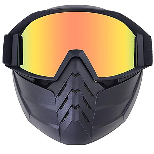 Gafas Ciclismo Serie de marcos negros Gafas de motocicleta con máscara facial desmontable Casco A prueba de niebla A prueba de viento Protección UV Bicicleta ATV MX Gafas para carreras de equitación
