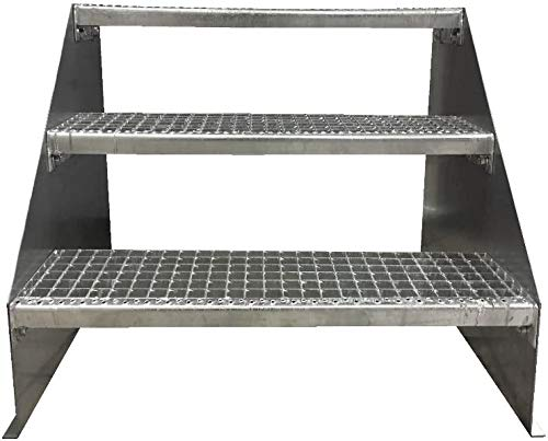 3 Stufen Standtreppe Stahltreppe freistehend Breite 60cm Höhe 63cm Verzinkt/Robuste Außentreppe/Stabile Industrietreppe für den Außenbereich
