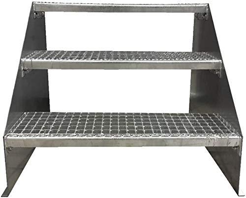 3 Stufen Standtreppe Stahltreppe freistehend Breite 80cm Höhe 63cm Verzinkt/Robuste Außentreppe/Stabile Industrietreppe für den Außenbereich