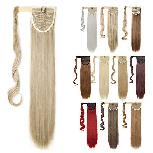 """Ponytail Extensions Haarteil wie Echthaar Clip in Pferdeschwanz Zopf Extensions Weich Glatt Haarverlängerung 26\""""(65cm) Blond & Bleichblond 100g"""