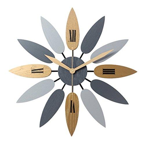 eewopjkj Reloj de Pared de Metal con diseño de Hoja Creativa de Estilo nórdico de 52 CM Reloj de Pared silencioso sin tictac para Sala de Estar Dormitorio Cocina Oficina
