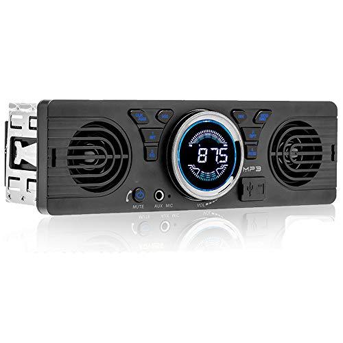 WEPARTICULAR 1 DIN Bluetooth Autoradio con Due Altoparlanti Universale 12V FM MP3 Autoradio Bluetooth Chiamata in Vivavoce Auto in-Dash Car Stereo