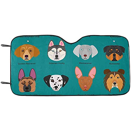 Zome Lag Hond Gezichten Set met Rassen Naam Voorruit Zonneschermen Blok UV, Bescherm uw Auto tegen Zonnewarmte S(70X130CM) 587