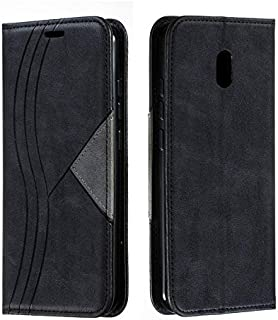 For Xiaomi Redmi 8A Case, S-lines Stitching Pattern Leather Wallet Case, Folio Flip Stand Case with Invisible Built-in Mag...