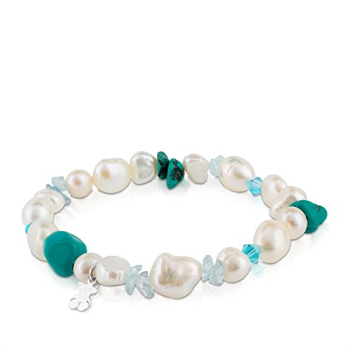 TOUS Pearls - Pulsera de Plata de Primera Ley con Perlas Cultivadas y Turquesas - Largo: 17,5 cm