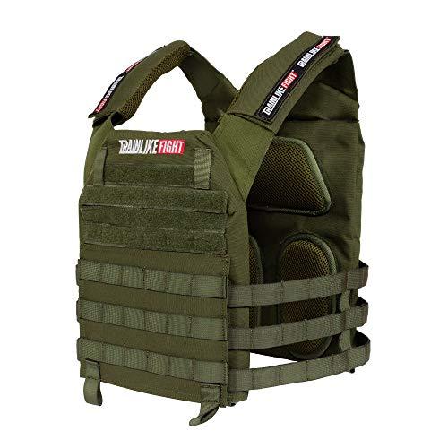 TRAINLIKEFIGHT OLDSKULL Vest Verstellbare Gewichtsweste für Training, Crossfit, Calisthenie, Fitness (geeignet für Gewichtsplatten) (OD grün)