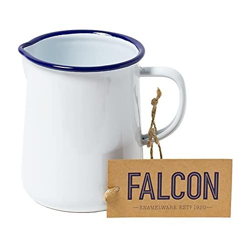 Falcon Enamelware - Brocca da 1 pinta, taglia unica, colore: Bianco con bordo blu
