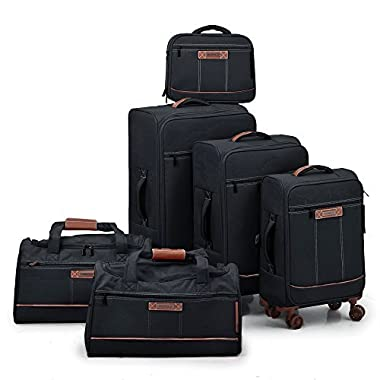 Fochier 6 Piece Luggage Spinner Set Softshell Expandable Suitcase