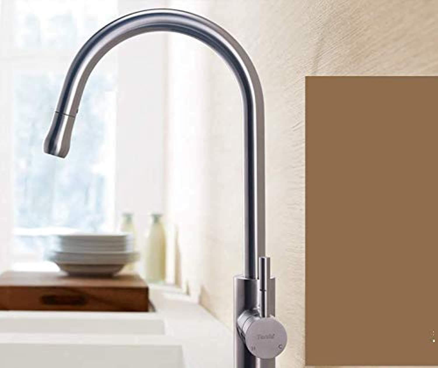 Hot and Cold Brushed Pull Kitchen Faucet Sink Sink Retractable Single Hole redatable Home