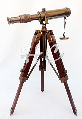 Hanzla Collection Nautical Antique Brass Telescope with Wooden Tripod Stand Collectible Desk Decor