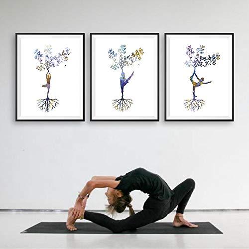 CHMIJ Abstracto Moderno Yoga Impresión de Carteles de Arte Impresiones Mujer Yoga Asanas Arte de la Pared Pintura de la Lona Imágenes Decoración nórdica de la Pared del hogar-40x60cm 3pcs Sin Marco