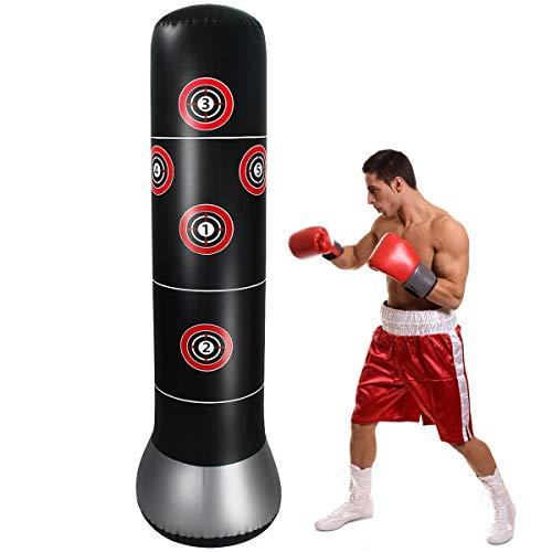 Saco de Boxeo de Pie 160cm para Practicar Karate, Taekwondo y Aliviar la Energía Acumulada Trae una Toallita Casera