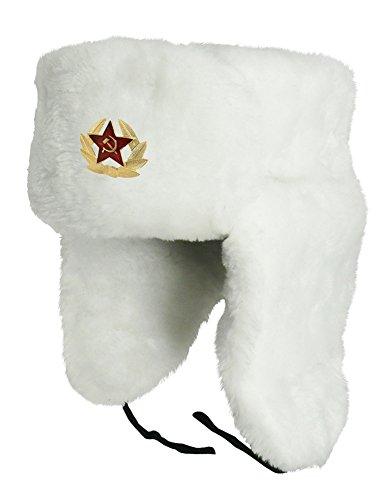 CUCUBA® RUSSISCHE MÜTZE WEIß SCHAPKA USCHANKA WINTERMÜTZE - Geschenkidee (55 Size S (EU))
