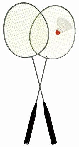 Idena 7408400 - Badminton Set Easy mit 2 Schlägern und einem Ball, Sportspiel für Kinder und Erwachsene, ideal im Sommer für Garten, Park oder Strand