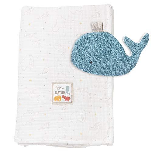 Fehn 056365 Couverture en Mousseline avec Baleine – Couverture Douce pour bébé avec Jouet froissé en 100 % Coton Bio pour bébés et Tout-Petits à partir de 0 Mois – Dimensions : 135 x 100 cm