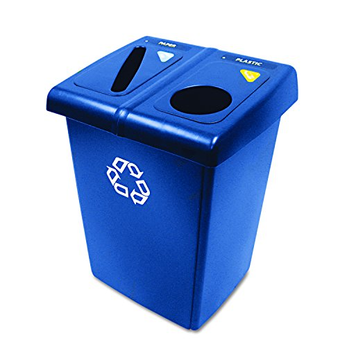 Rubbermaid Commercial 1792339 Glutton Recycling Station, 2-Stream, 46-Gallon, Blue