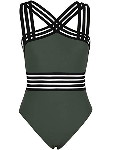 Hilor Women's One Piece Swimwear Front Crossover Swimsuits Hollow Bathing Suits Monokinis Dark Army Green M/US8-10