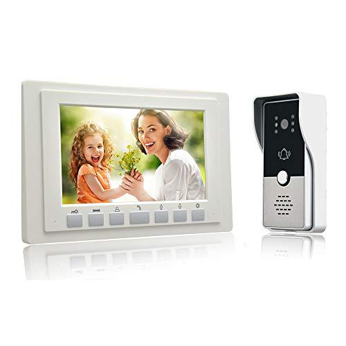 QYSHH Timbre de Video, Sistema de Seguridad con Interfono Monitor LCD de 7 Pulgadas, Cámara de Visión Nocturna por Infrarrojos, para Casas Privadas, Villas, Oficinas,Hoteles (Blanco