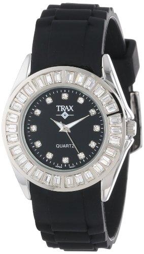 Trax TR3925-BK Rox - Reloj de pulsera para mujer, esfera negra, bisel de vidrio