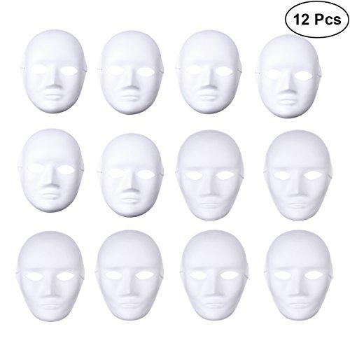 LUOEM DIY Full Face Cosplay Maske Halloween Kostüme DIY Weiß Cosplay Masken Maskerade Party Maske, Pack von 12 (6 stücke Männlichen und 6 stücke Weibliche)
