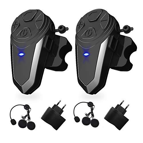 vFound BT-S3 1000m Interfaz de Motocicleta Casco Auriculares Sistemas de comunicación en Tiempo Real Manos Libres Radio FM Intercomunicador Bluetooth Impermeable para 2 o 3 pasajeros(2 Piezas)
