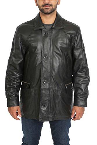 Manteau en Cuir Véritable Parka pour Homme Overcoat Classique en Hiver M2 Noir (2XL)