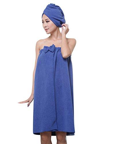 ZiXing Sombrero cabello seco y toalla de baño, la falda pareo suave con velcro y toalla de pelo Abrigo de algodón orgánico Royal Blue OneSize