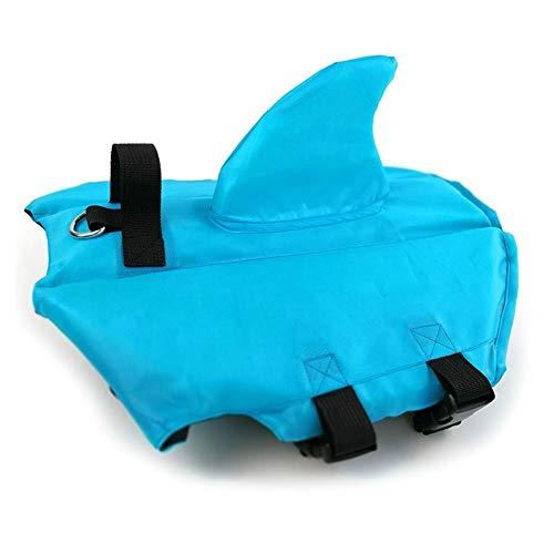 Chaleco salvavidas de verano para perro, chaleco salvavidas con aleta de tiburón, chaleco flotante para mascota con correas ajustables, ropa francesa bulldog Fin chaqueta para jugar en el mar (Azul,M)