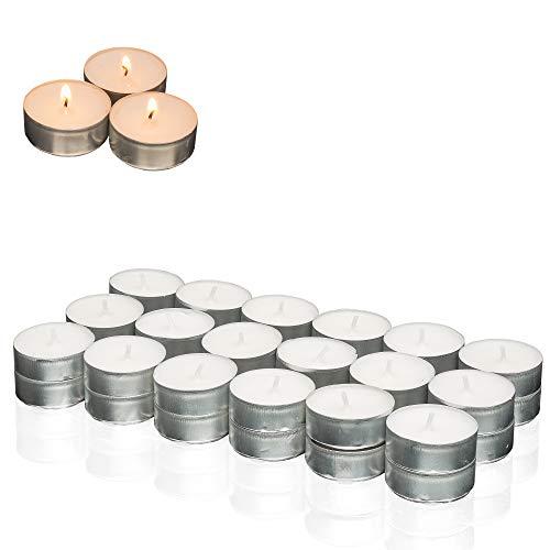 Smart Planet® kaarsen Ambiente - set van 36 theelichtjes wit - lange brandduur - 36 stuks waxinelichtjes in wit - aluminium schaal kaars