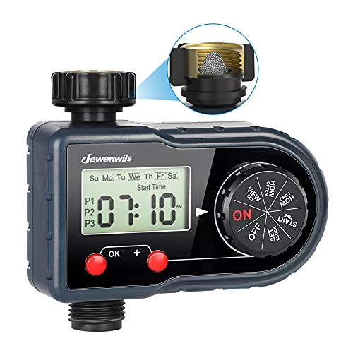 DEWENWILS Water Sprinkler Hose Timer, Outdoor Garden Watering Timer, Automatic Faucet Irrigation Timer for Pool Yard Lawn Drip System, Auto Manual Mode with 3 Programs