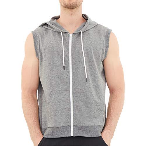 Dubinik - Felpa da uomo senza maniche con cappuccio e tasca Kanga, senza maniche - Grigio - Medium
