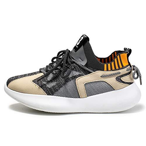 Zapatillas de moda para hombre, deportivas, casuales, running, fitness, ligeras, cómodas, multicolores, transpirables, (gris), 44 EU
