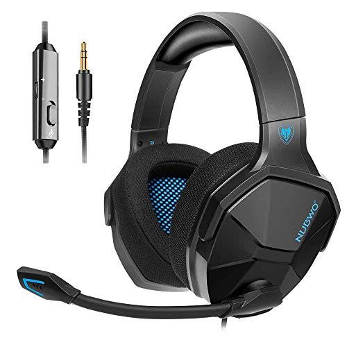 NUBWO PS4 Headset, Gaming Headset für PC Xbox One Switch PS5, Bass-Surround Stereo Over-Ear Gaming Kopfhörer mit Rauschunterdrückung und Inline-Steuerung Mikrofon für Laptop, Mac, Handy, Tablet - blau
