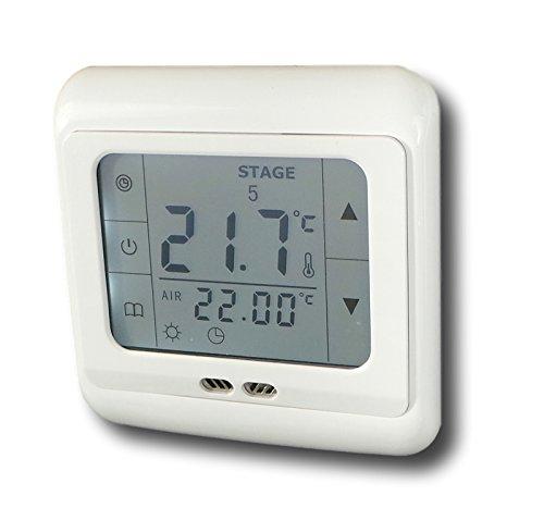 SM-PC®, Raumthermostat Thermostat programmierbar Touchscreen Digital weiße Hintergrundbeleuchtung mit Schaltung ´Stromlos geöffnet´ #897