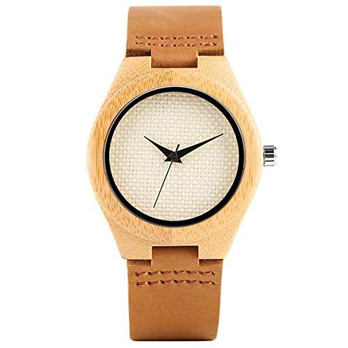 RWJFH Reloj de Madera Reloj analógico de bambú novedoso con Esfera de Nailon Verde/Beige Fresco para Mujer Reloj Minimalista de Madera para Mujer, Esfera Beige