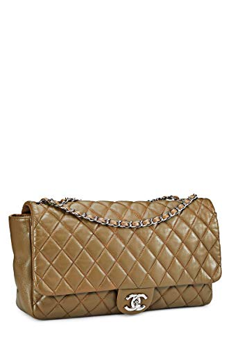 CHANEL Taupe Quilted Lambskin Full Flap Shoulder Bag Large (Renewed)