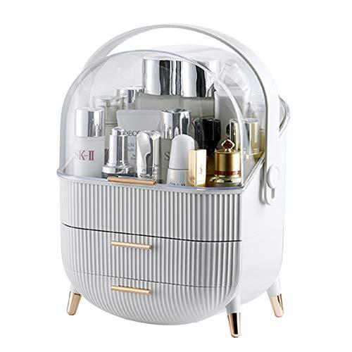 KONEE Organizador de Maquillaje Premium, Almacenamiento Cosmético Portátil a Prueba de Polvo, Cosméticos Joyería Organizador para el Aparador, Dormitorio, Cuarto de Baño - Blanco