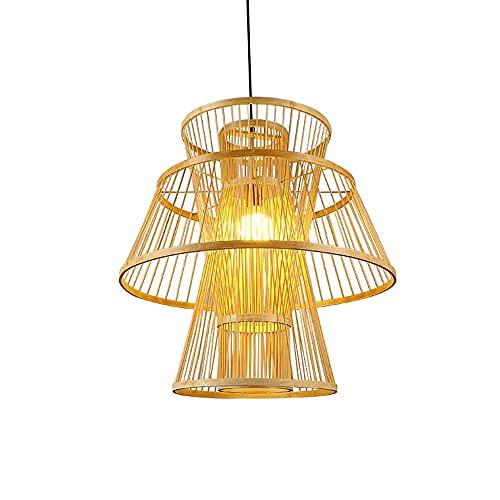 XCY Iluminación Decorativa, Candelabro de Bambú de Forma Simple E Irregular Iluminación Colgante de Ratán para el Hogar Moderno Lámparas de Decoración de Restaurantes Del Sudeste Asiático Lámpara Col