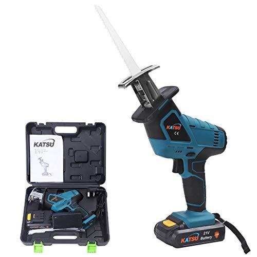 KATSU 102757 Cordless Reciprocating Saw 21V 1.2Ah with 1 Battery + Saw Blades