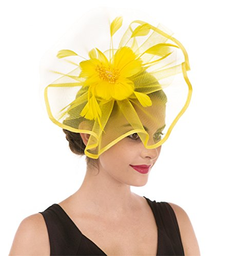 SAFERIN Fascinator Hat Feather Mesh Net Veil Cocktail Tea Party Hat Flower Derby Hat with Clip and Hairband for Women (TA1-Yellow)