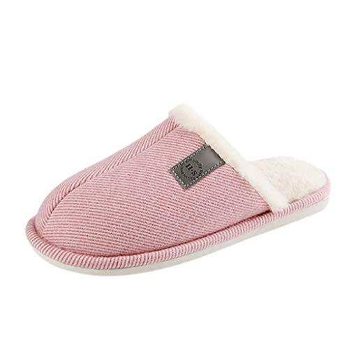 DNOQN Frauen Große Größe Beiläufig Zuhause Plus Samt Warme Schuhe Gemütlich Baumwolle Hausschuhe