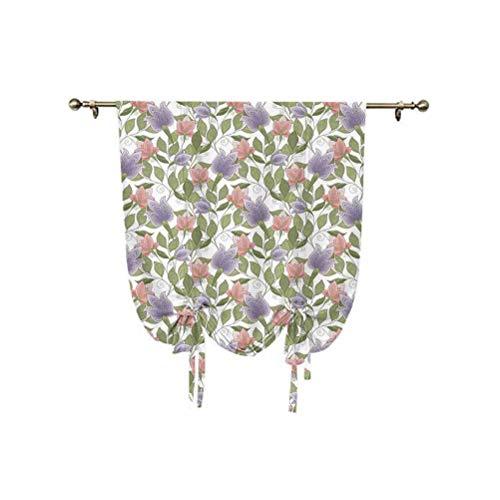 Cortina romana floral, tono pastel, diseño otomano, diseño otomano, con imagen de pétalos, aislamiento térmico, 95 x 150 cm, para ventanas del hogar, coral, lila y verde oliva